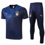 Camiseta de Entrenamiento Italia 2020 Cuello Redondo Kit Azul Marino