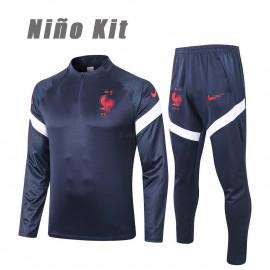 Sudadera de Entrenamiento Francia 2020 Niño Kit Azul Marino