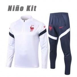 Sudadera de Entrenamiento Francia 2020 Niño Kit Blanco