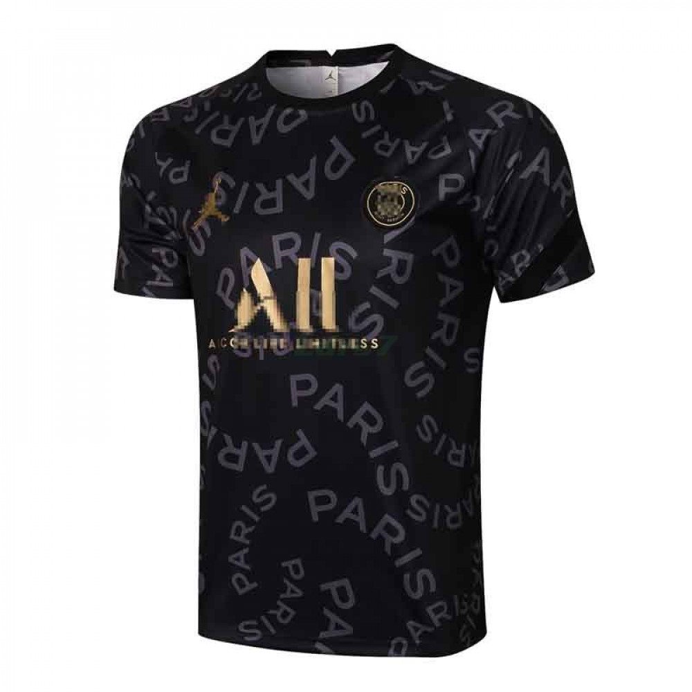 Camiseta de Entrenamiento PSG 2021/2022 Jordan Letra Estampado Negro