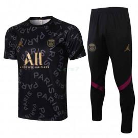 Camiseta de Entrenamiento PSG 2021/2022 Kit Jordan Letra Estampado Negro