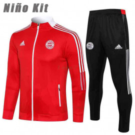 Chándal Bayern Múnich 2021/2022 Cuello Alto Niño Kit Rojo